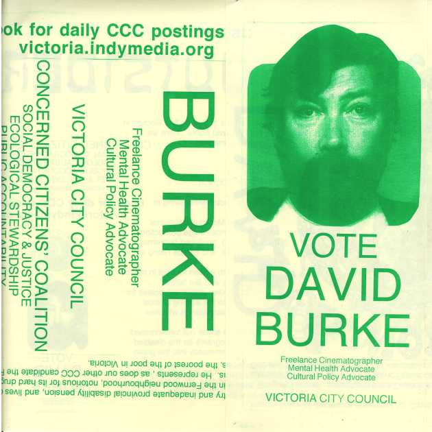 DETAIL OF 2002 CCC POSTER FOR DAVID BURKE DESIGNED BY 'GOYO DE LA ROSA' (GREGORY HARTNELL), folded