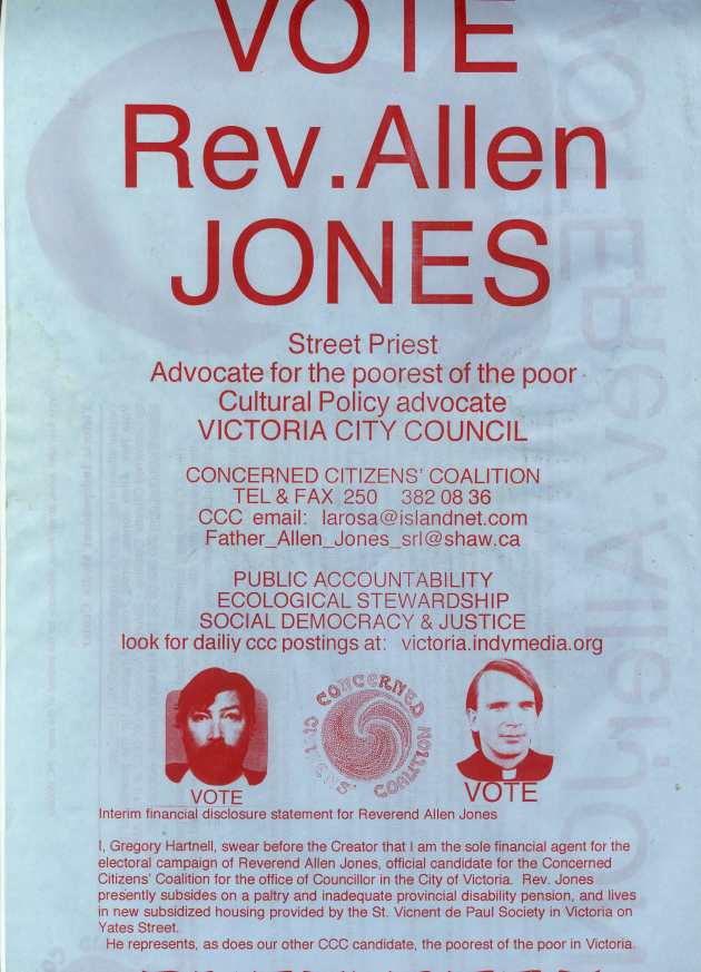 THIS POSTER WAS USED BY THE CCC FOR REVEREND ALLEN JONES IN THE 2002 VICTORIA CIVIC ELECTION